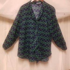 Cynthia Rowley whimsical owl blouse